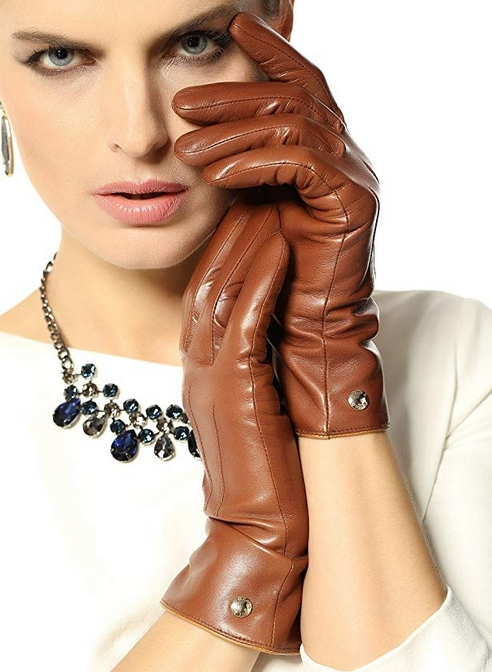 Elma Leather Gloves 100% Pure Cashmere Lined