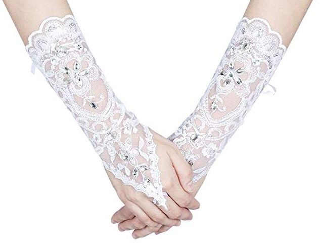 Lacey Ivory Rhinestone Fingerless Gloves